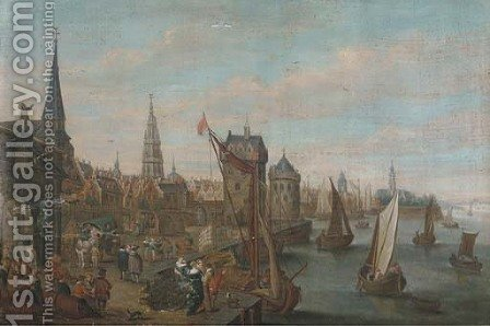 A view of Antwerp with elegant company on a quay by (after) Joseph Van Bredael - Reproduction Oil Painting