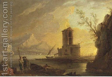 A Mediterranean coast at sunset with figures on the shore by (after) Claude-Joseph Vernet - Reproduction Oil Painting