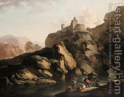 A mountain river landscape, with fishermen by (after) Claude-Joseph Vernet - Reproduction Oil Painting