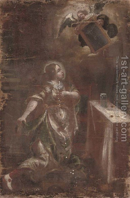 A vision of a female Saint by (after) Juan De Valdes Leal - Reproduction Oil Painting