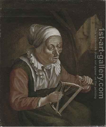 Reeling cotton by (after) Judith Leyster - Reproduction Oil Painting