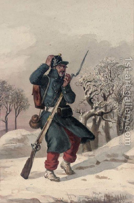 A cold wind Study of a soldier of the Napoleonic era by (after) Jules Adolphe Goupil - Reproduction Oil Painting