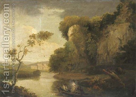 Figures in a rowing boat in a river landscape by (after) Julius Caesar Ibbetson - Reproduction Oil Painting