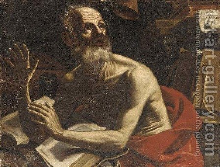 Saint Jerome in his study by (after) Jusepe De Ribera - Reproduction Oil Painting