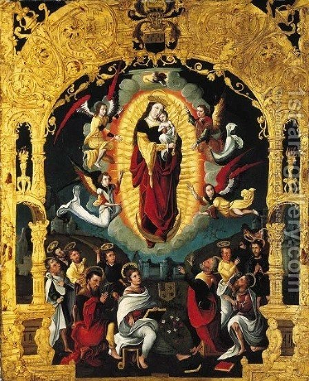The Immaculate Conception, with adoring saints, within a feigned Mannerist portico by (after) Lanceloot Blondeel - Reproduction Oil Painting