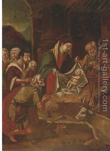 The Adoration of the Shepherds by (after) Jacopo Bassano (Jacopo Da Ponte - Reproduction Oil Painting