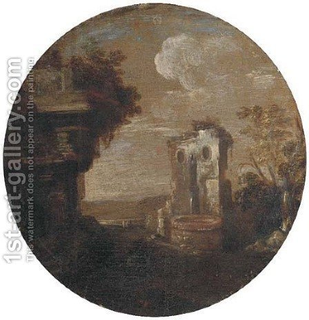 A capriccio of classical ruins with a fountain by (after) Leonardo Coccorante - Reproduction Oil Painting