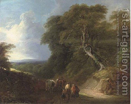 A wooded landscape with travellers on a track by (after) Lodewijk De Vadder - Reproduction Oil Painting