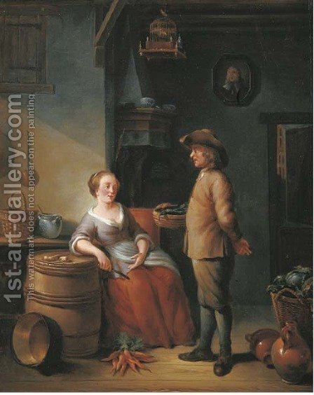 A kitchen interior with two servants conversing by (after) Louis De Moni - Reproduction Oil Painting