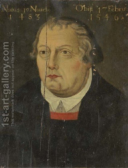 Portrait of Martin Luther 2 by (after) Lucas The Elder Cranach - Reproduction Oil Painting