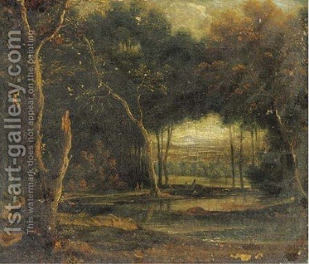 A wooded landscape with figures by a pond by (after) Lucas Van Uden - Reproduction Oil Painting