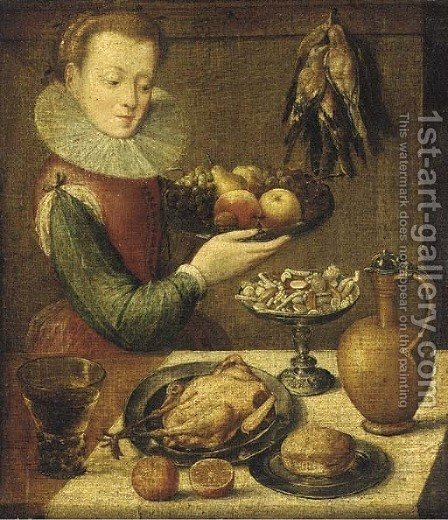 A kitchen maid holding a pewter platter of fruit before a partially draped table with a jug by (after) Lucas Van Valckenborch - Reproduction Oil Painting