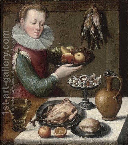 A young woman holding apples by (after) Lucas Van Valkenborch - Reproduction Oil Painting