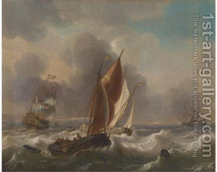 A Dutch man-o'-war and other shipping in choppy seas by (after) Ludolf Backhuysen - Reproduction Oil Painting
