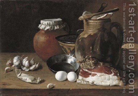 Ham, eggs, cloves of garlic, bread, terracotta pots and a frying pan on a wooden ledge by (after) Luis Eugenio Melendez - Reproduction Oil Painting