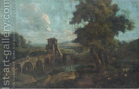 A landscape with travellers by a bridge by (after) Marco Ricci - Reproduction Oil Painting