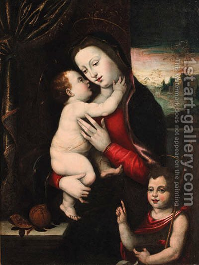 The Madonna and Child with the Infant Saint John the Baptist by (after) Mariotto Albertinelli - Reproduction Oil Painting