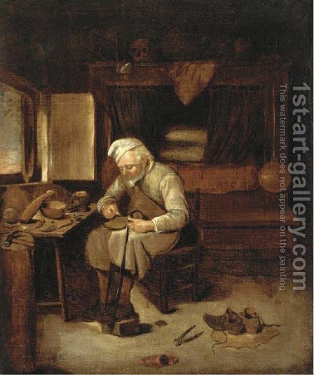 A cobbler in his workshop by (after) Martin Dicthl - Reproduction Oil Painting