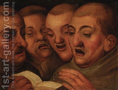 Four monks singing by (after) Marten Van Cleve - Reproduction Oil Painting