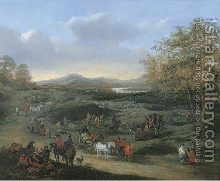 An extensive landscape with travellers on a road, other figures beyond by (after) Mathys Schoevaerdts - Reproduction Oil Painting