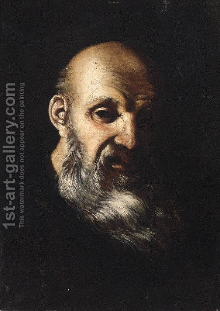 An old Man, head and shoulders by (after) Mattia Preti - Reproduction Oil Painting