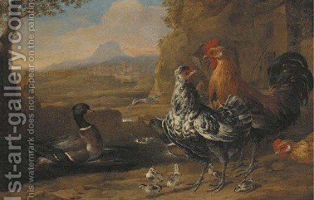 A turkey, roosters, ducks and goslings in a farmyard by (after) Melchior De Hondecoeter - Reproduction Oil Painting