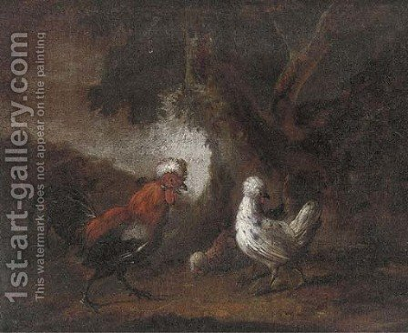 Foraging chickens by (after) Melchior De Hondecoeter - Reproduction Oil Painting