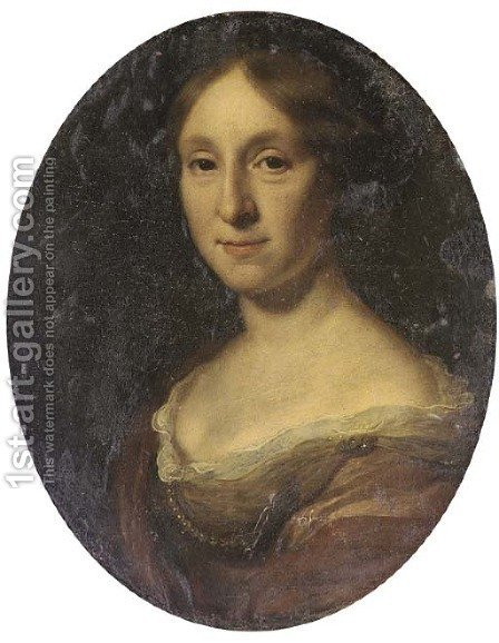 Portrait of a lady, bust-length, in a brown dress and pearl necklace by (after) Dahl, Michael - Reproduction Oil Painting