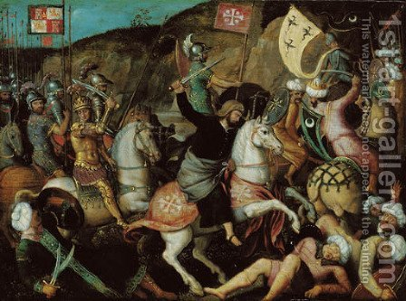 Saint James the Great at the Battle of Clavijo by (after) Michel Sittow - Reproduction Oil Painting