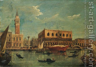 The Bacino of the Grand Canal, Venice, looking towards the Piazzetta and the Doge's Palace by (after) Michele Marieschi - Reproduction Oil Painting