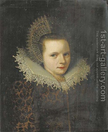 Portrait of a lady, bust length, in a brown velvet dress with a floral pattern and a white lace collar, a gold necklace, and a white lace cap fastened by (after) Michiel Jansz. Van Mierevelt - Reproduction Oil Painting