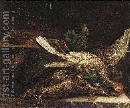 Two dead game birds with a pie, courgettes and other vegetables on a draped table by (after) Michiel Simons - Reproduction Oil Painting