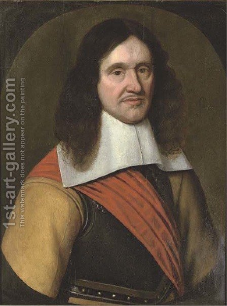 Portrait of a man, bust-length, wearing a breast plate and red sash by (after) Mierevelt, Michiel Jansz. van - Reproduction Oil Painting