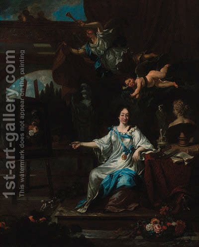 An allegorical portrait of an artist, probably Rachel Ruysch by (after) Michiel Van Musscher - Reproduction Oil Painting