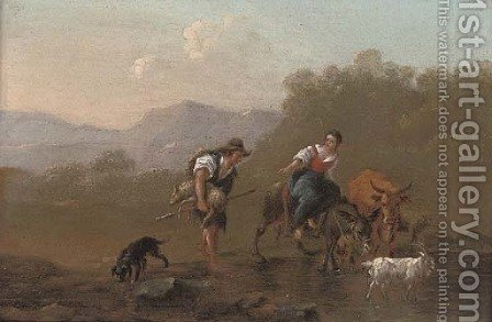 A drover and a shepherdess fording a river by (after) Nicolaes Berchem - Reproduction Oil Painting
