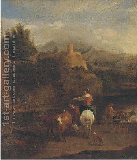 A river landscape with a drover, his cattle and other figures by (after) Nicolaes Berchem - Reproduction Oil Painting