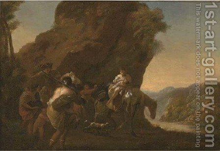 A rocky river landscape with travellers in the foreground by (after) Nicolaes Berchem - Reproduction Oil Painting