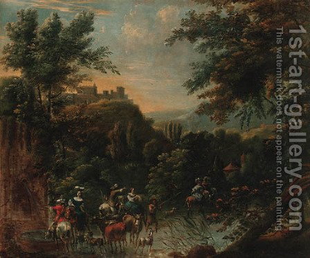 An extensive landscape with a hunting party and drovers watering cattle at a stream, a hilltop village beyond by (after) Nicolaes Berchem - Reproduction Oil Painting