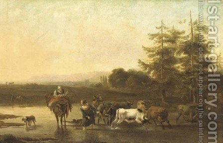 An Italianate landscape with drovers fording a river by (after) Nicolaes Berchem - Reproduction Oil Painting
