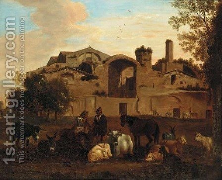 An Italianate landscape with shepherds and livestock before an Italianate town by (after) Nicolaes Berchem - Reproduction Oil Painting
