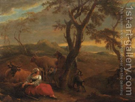 A peasantwoman resting at the foot of a tree in an Italianate landscape, at sunset by (after) Nicolaes Berchem - Reproduction Oil Painting