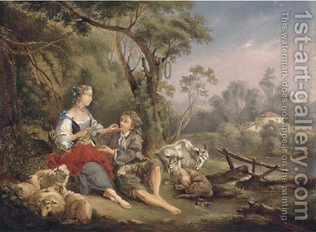The amorous shepherd by (after) Lancret, Nicolas - Reproduction Oil Painting