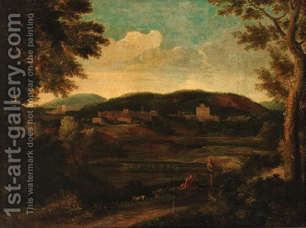 Figures in a classical landscape by (after) Nicolas Poussin - Reproduction Oil Painting