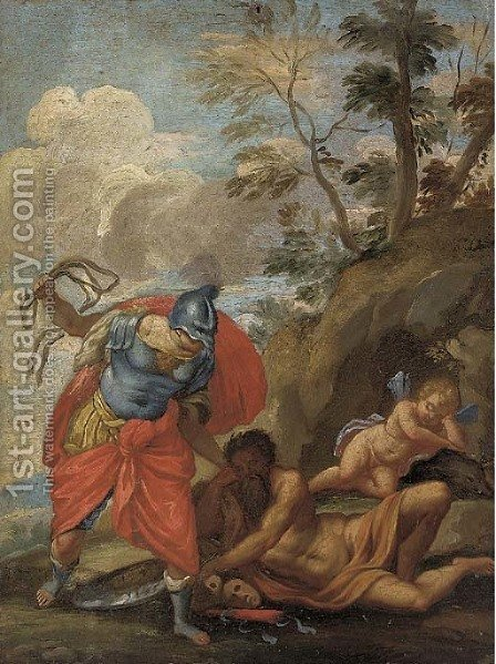 Mars destroying Wisdom and the Arts by (after) Paolo Di Matteis - Reproduction Oil Painting