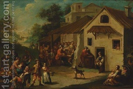 Peasants outside a tavern by (after) Paolo Monaldi - Reproduction Oil Painting