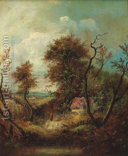 A figure on a wooded track, a cottage beyond by (after) Patrick Nasmyth - Reproduction Oil Painting