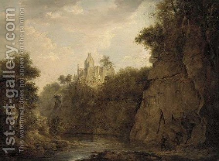 Anglers on the bank of a river gorge, Rosslyn castle beyond by (after) Patrick Nasmyth - Reproduction Oil Painting