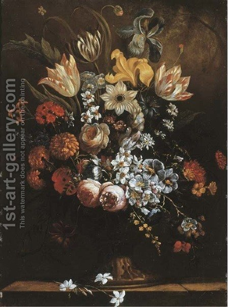 Flowers in a sculpted vase on a stone ledge by (after) Paul Theodor Van Brussel - Reproduction Oil Painting