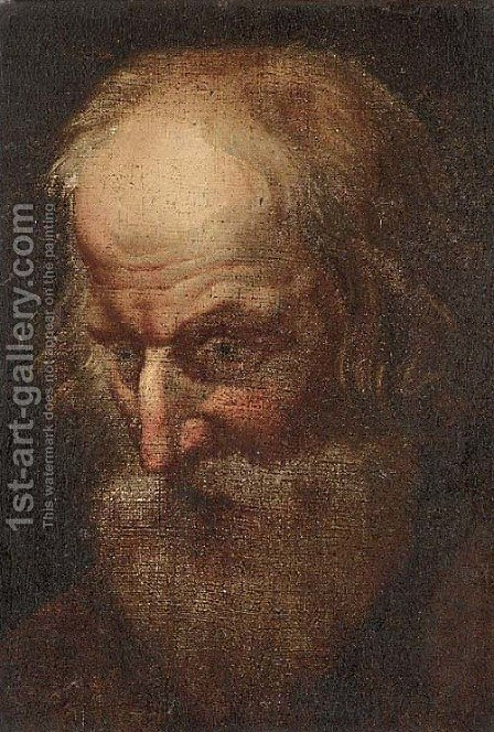 Head of a male Saint by (after) Rubens, Peter Paul - Reproduction Oil Painting