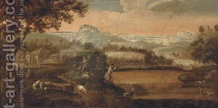 Figures hunting in an extensive landscape by (after) Peter Tillemans - Reproduction Oil Painting